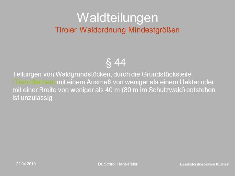 Waldteilungen Tiroler Waldordnung Mindestgrößen