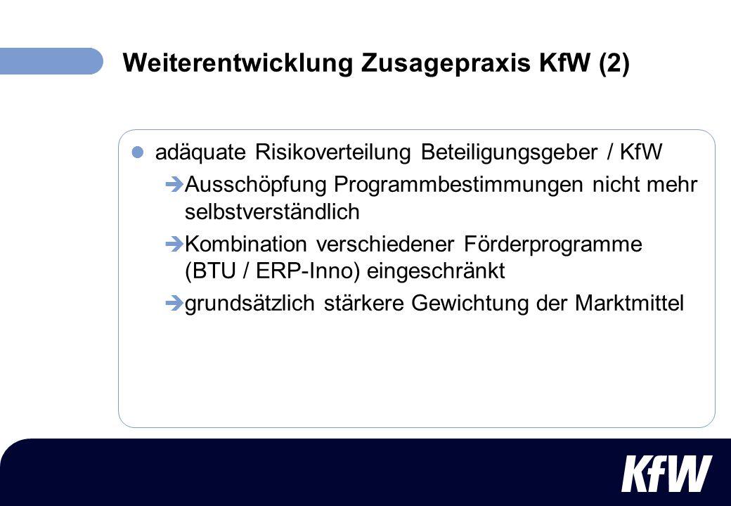 Weiterentwicklung Zusagepraxis KfW (2)