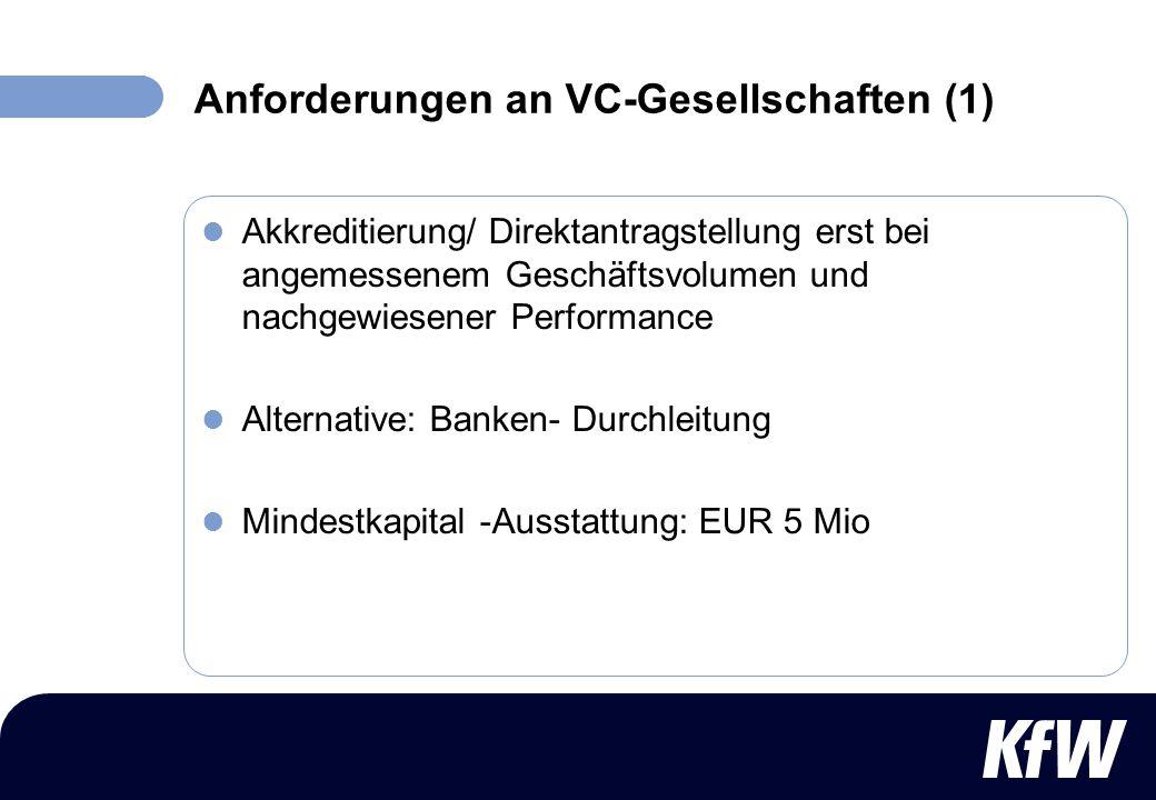 Anforderungen an VC-Gesellschaften (1)