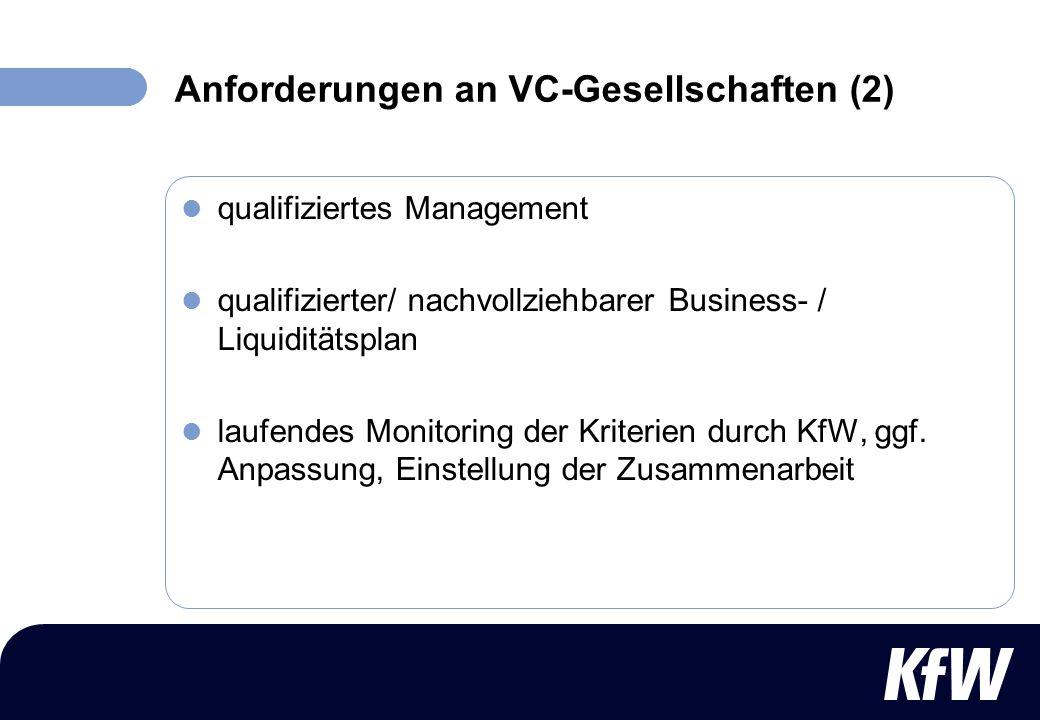 Anforderungen an VC-Gesellschaften (2)