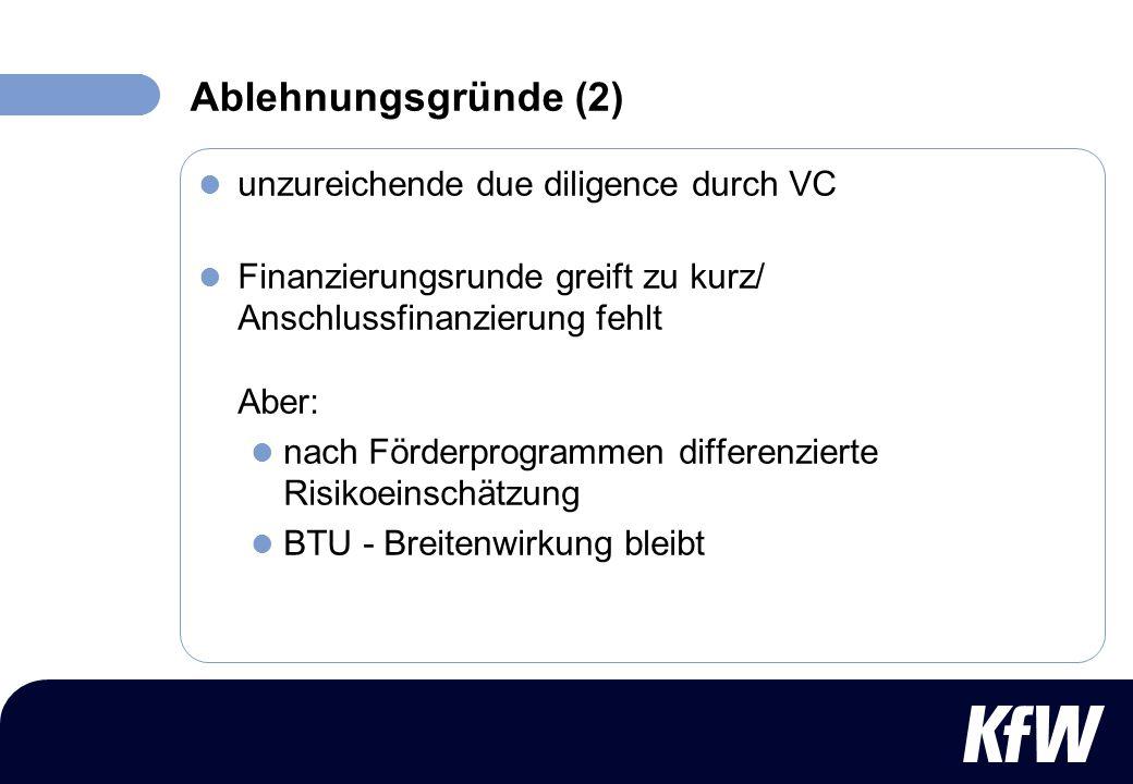 Ablehnungsgründe (2) unzureichende due diligence durch VC