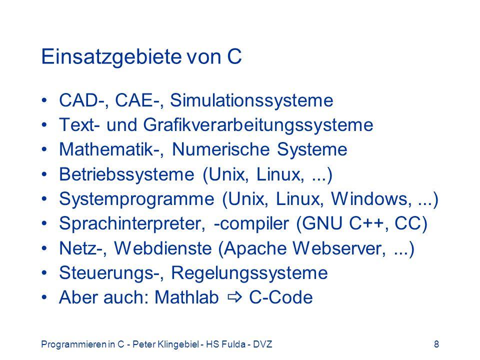 Einsatzgebiete von C CAD-, CAE-, Simulationssysteme