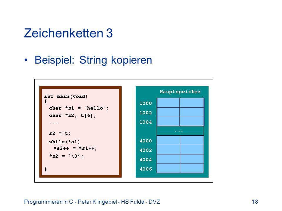 Zeichenketten 3 Beispiel: String kopieren