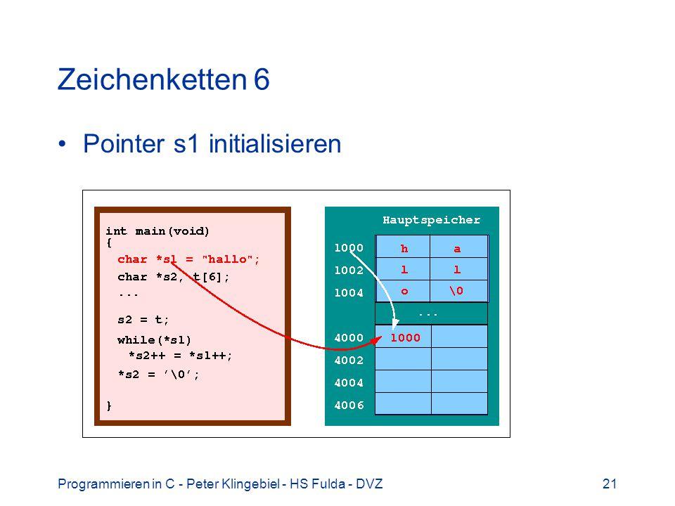 Zeichenketten 6 Pointer s1 initialisieren