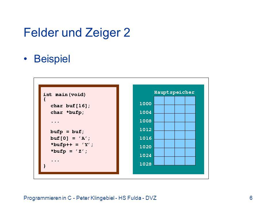 Felder und Zeiger 2 Beispiel