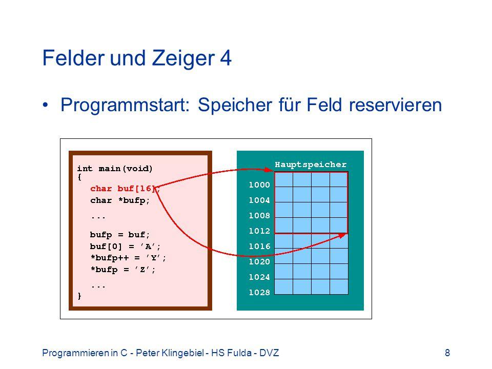Felder und Zeiger 4 Programmstart: Speicher für Feld reservieren