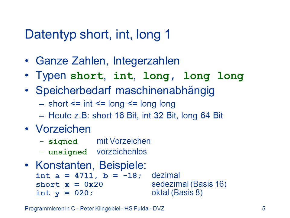 Datentyp short, int, long 1