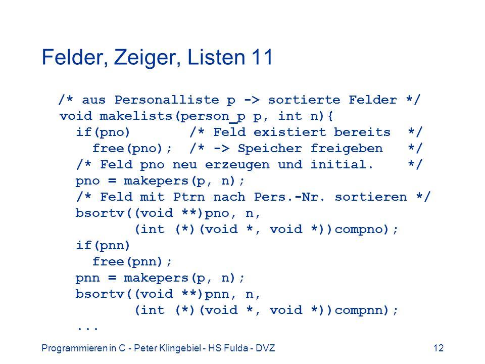 Felder, Zeiger, Listen 11