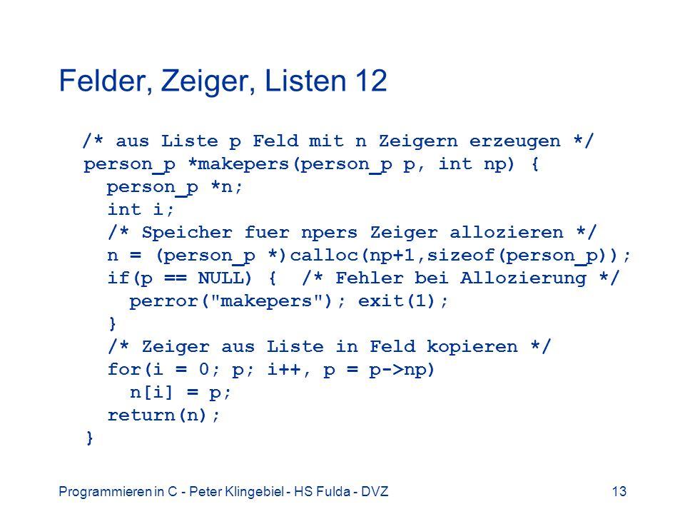 Felder, Zeiger, Listen 12