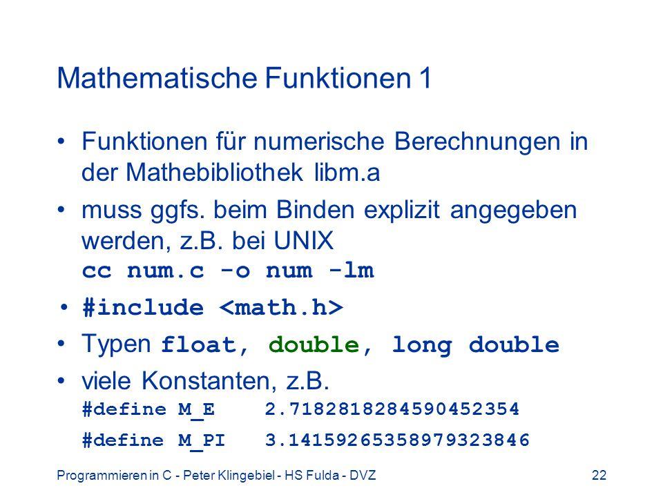 Mathematische Funktionen 1