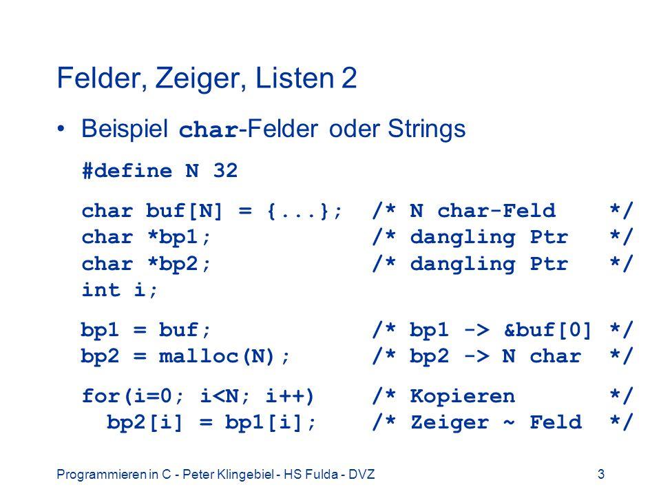 Felder, Zeiger, Listen 2