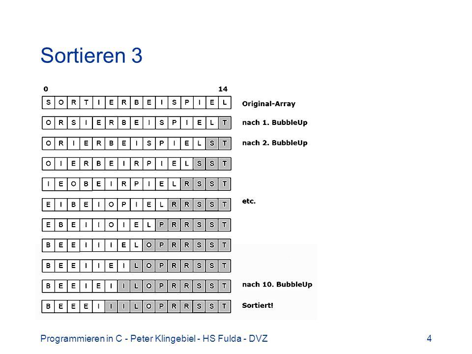 Sortieren 3 Programmieren in C - Peter Klingebiel - HS Fulda - DVZ