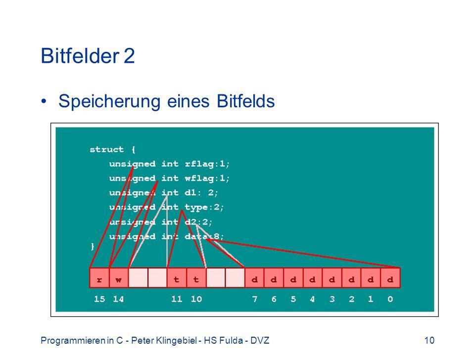 Bitfelder 2 Speicherung eines Bitfelds