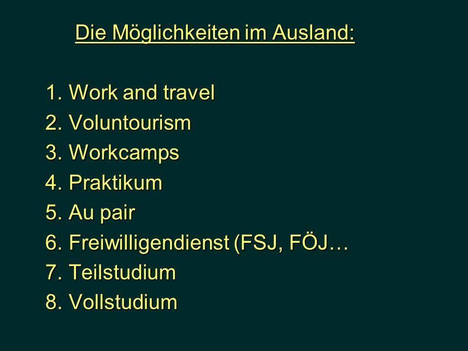 Die Möglichkeiten im Ausland: