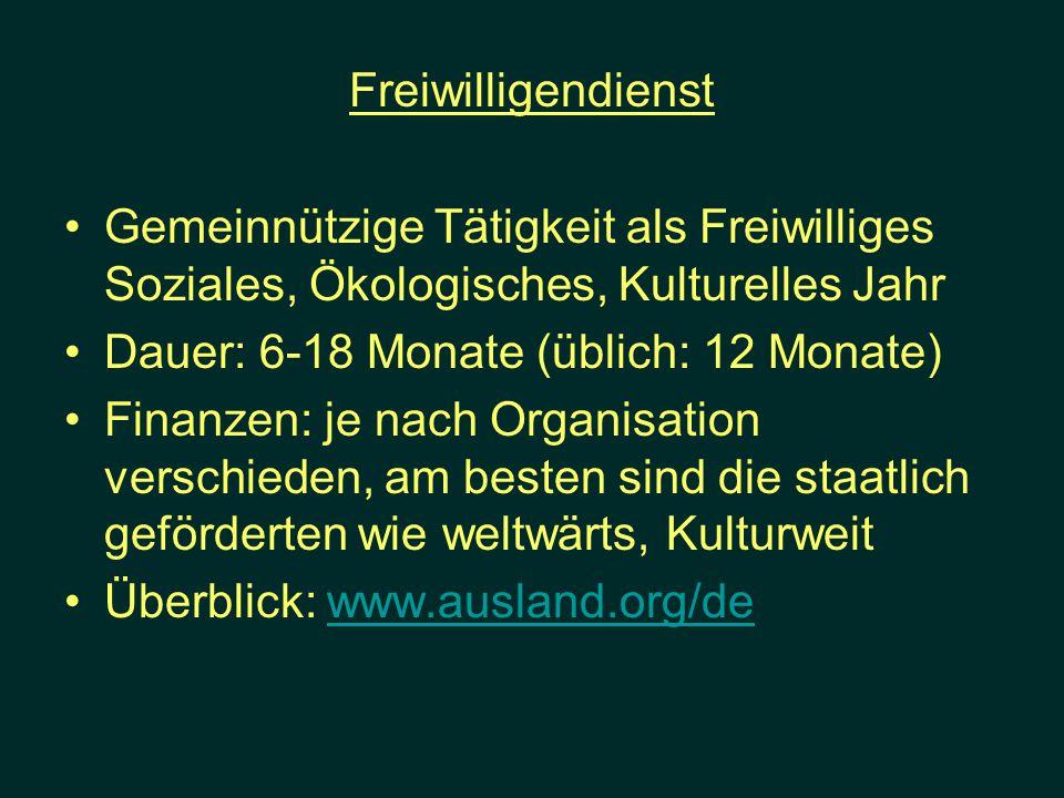 Freiwilligendienst Gemeinnützige Tätigkeit als Freiwilliges Soziales, Ökologisches, Kulturelles Jahr.