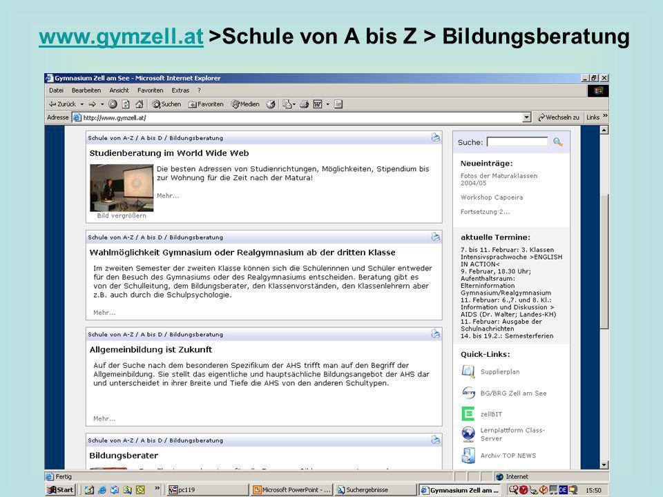 www.gymzell.at >Schule von A bis Z > Bildungsberatung