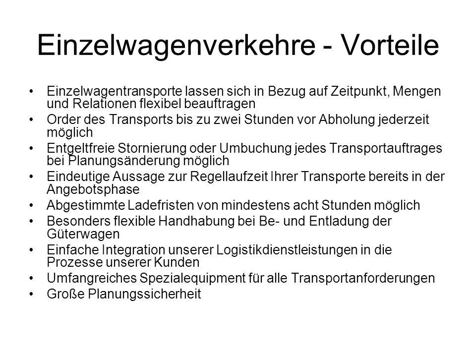 Einzelwagenverkehre - Vorteile