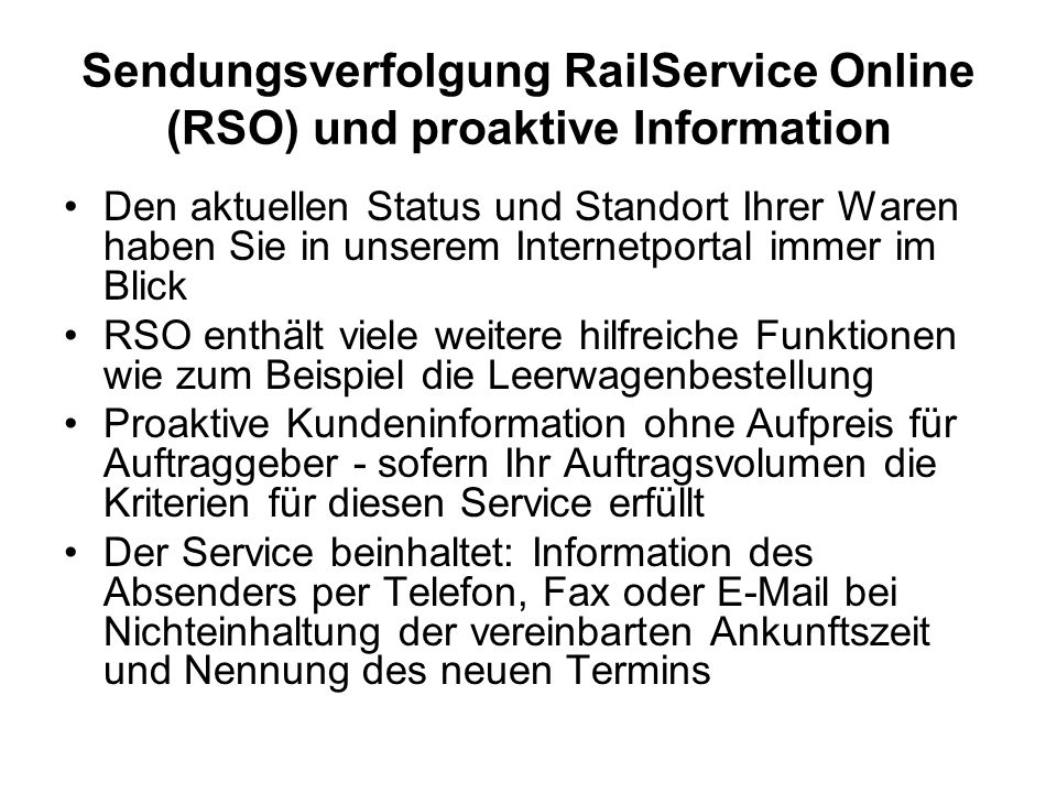 Sendungsverfolgung RailService Online (RSO) und proaktive Information