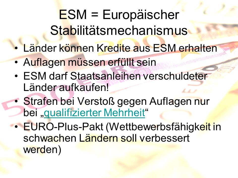 ESM = Europäischer Stabilitätsmechanismus