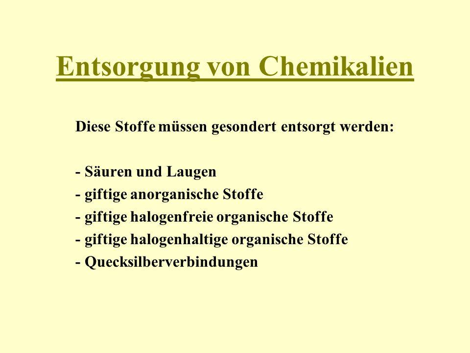 Entsorgung von Chemikalien