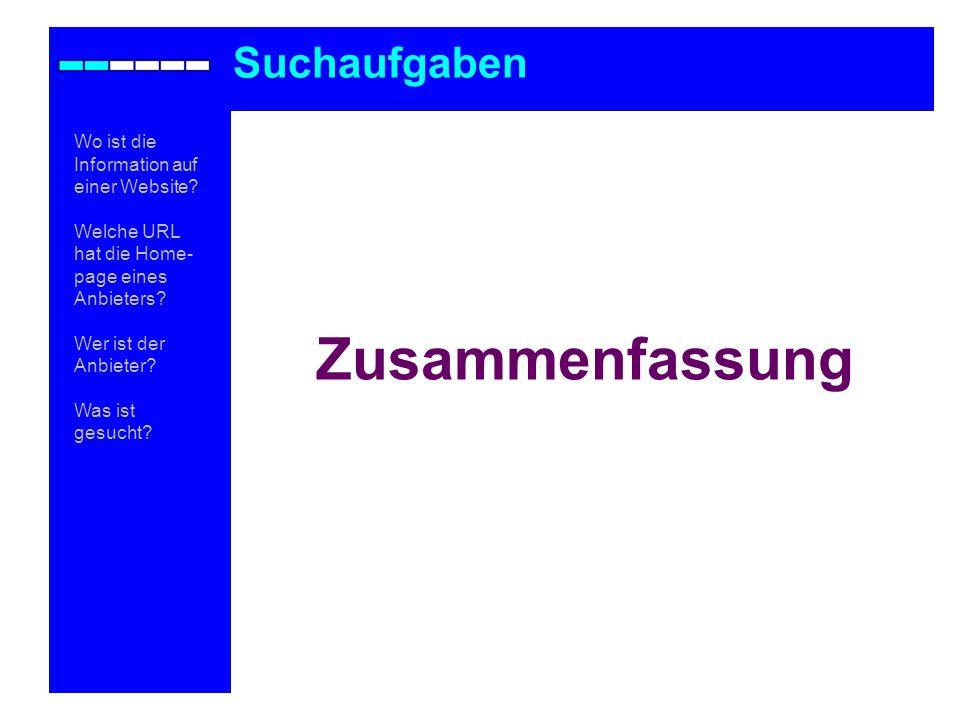 Zusammenfassung Suchaufgaben Wo ist die Information auf einer Website