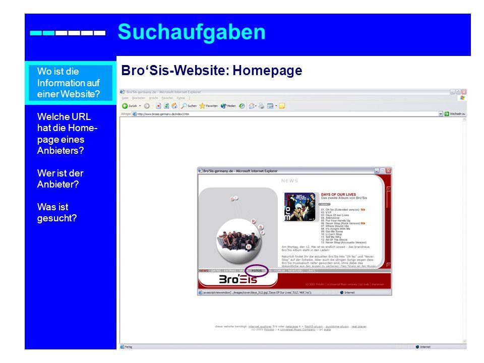 Suchaufgaben Bro'Sis-Website: Homepage