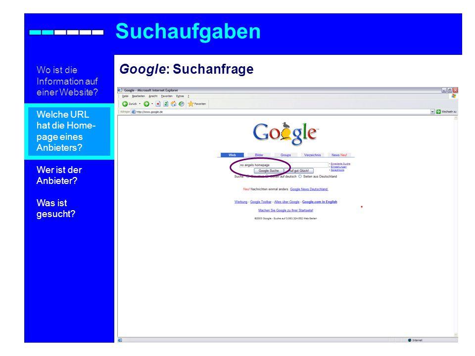 Suchaufgaben Google: Suchanfrage