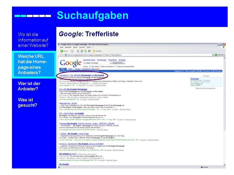 Suchaufgaben Google: Trefferliste