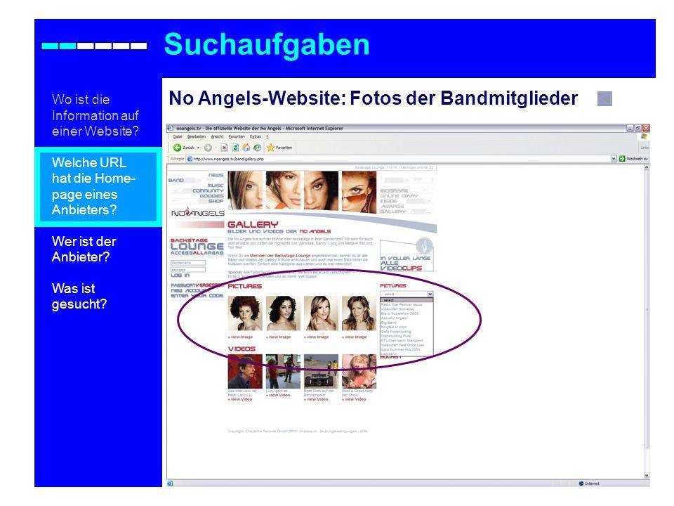 Suchaufgaben No Angels-Website: Fotos der Bandmitglieder