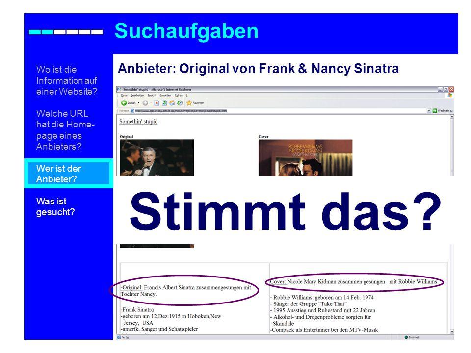 Stimmt das Suchaufgaben Anbieter: Original von Frank & Nancy Sinatra