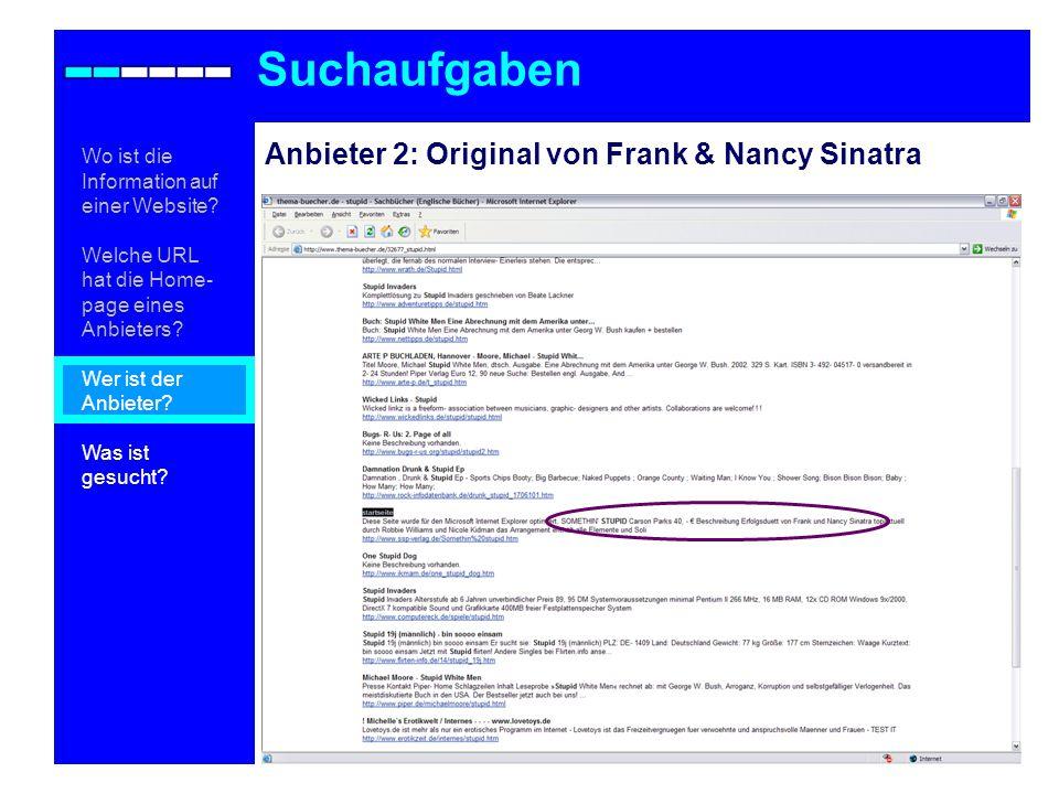 Suchaufgaben Anbieter 2: Original von Frank & Nancy Sinatra