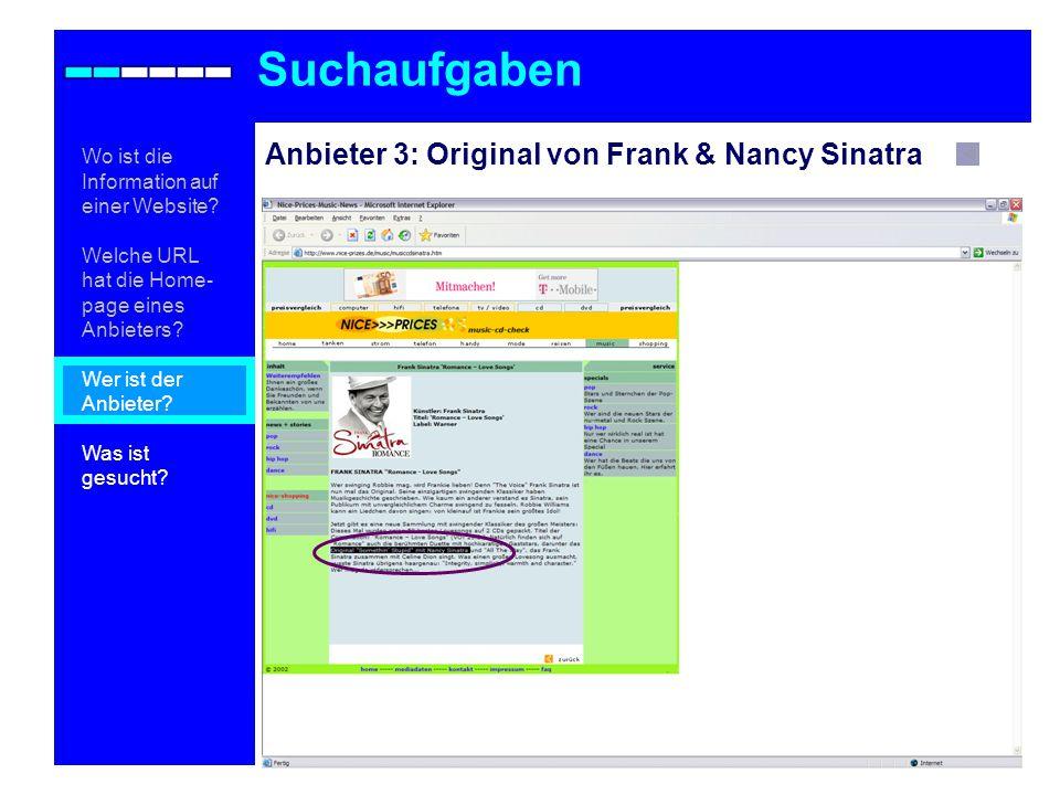 Suchaufgaben Anbieter 3: Original von Frank & Nancy Sinatra