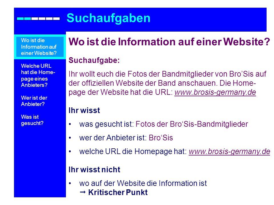 Suchaufgaben Wo ist die Information auf einer Website Suchaufgabe:
