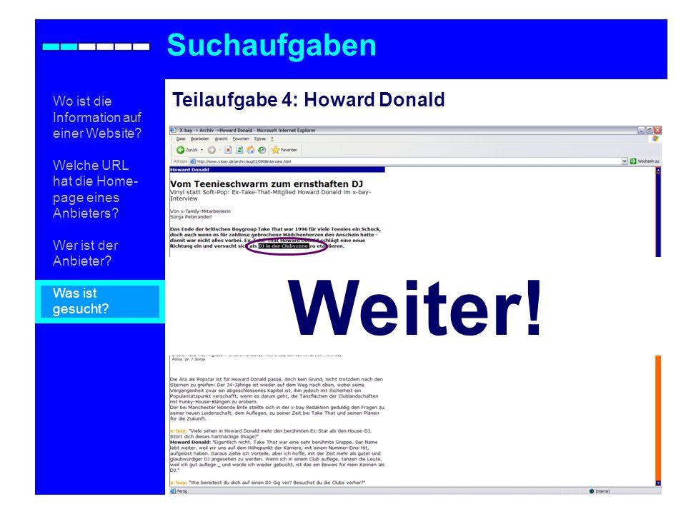 Weiter! Suchaufgaben Teilaufgabe 4: Howard Donald