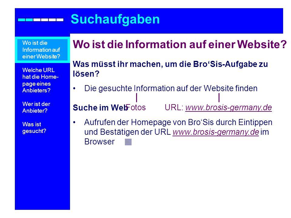 Suchaufgaben Wo ist die Information auf einer Website