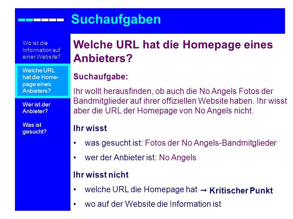 Suchaufgaben Welche URL hat die Homepage eines Anbieters Suchaufgabe: