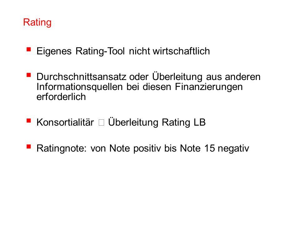 Rating Eigenes Rating-Tool nicht wirtschaftlich.
