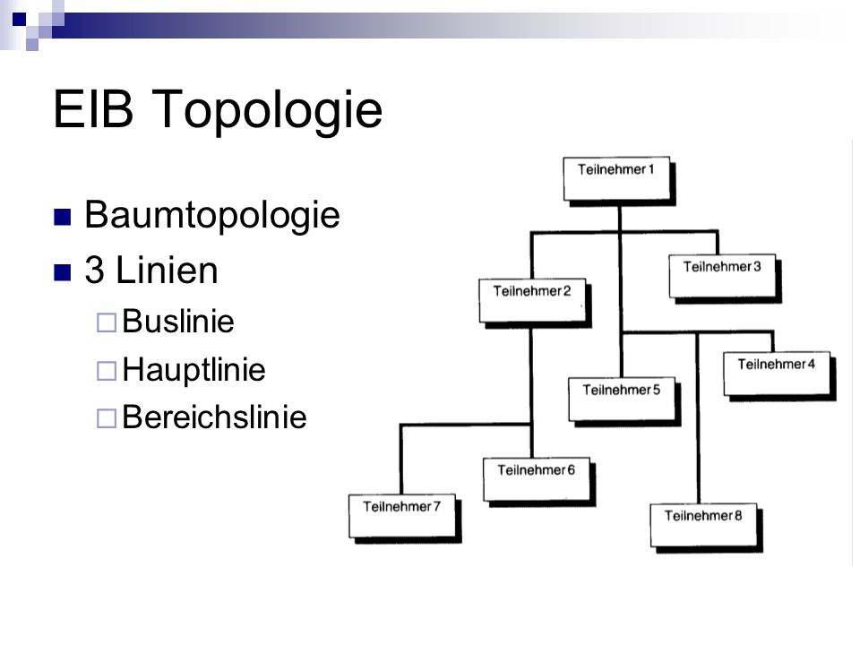 EIB Topologie Baumtopologie 3 Linien Buslinie Hauptlinie Bereichslinie