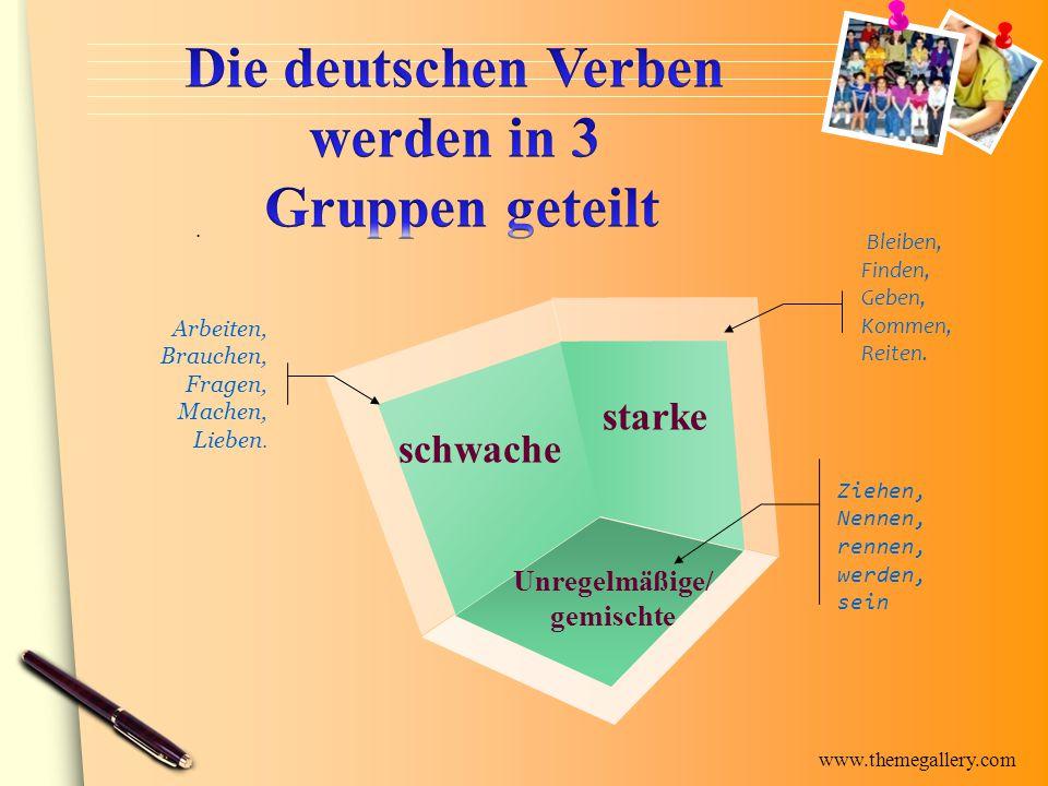 Die deutschen Verben werden in 3 Gruppen geteilt
