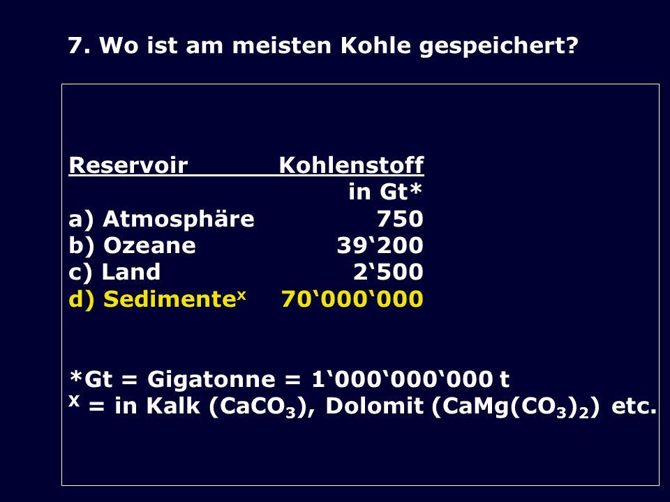 7. Wo ist am meisten Kohle gespeichert