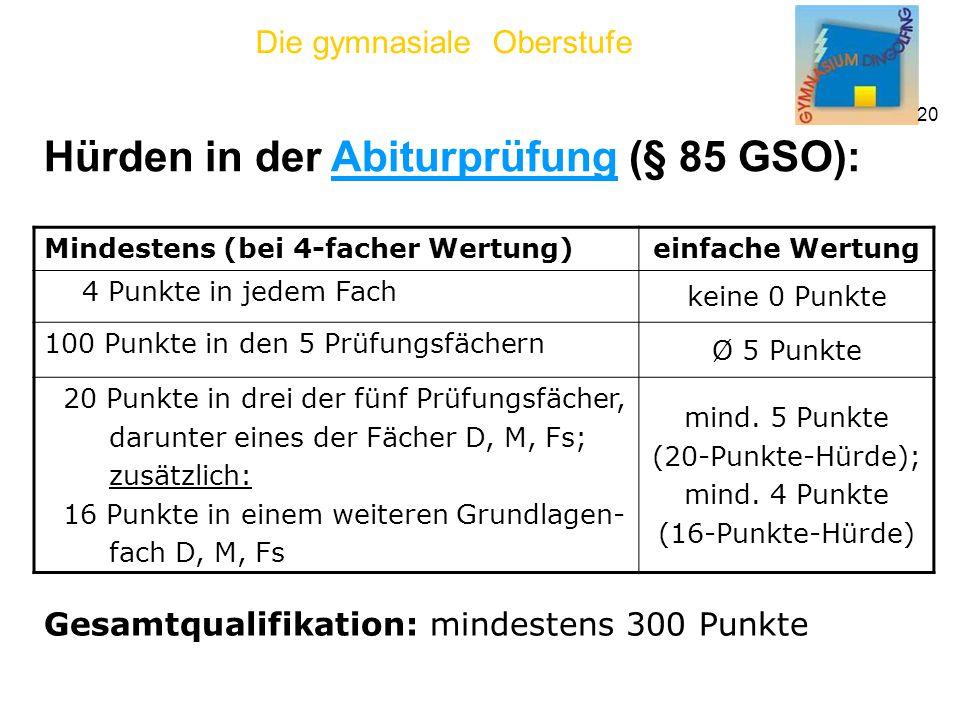 Hürden in der Abiturprüfung (§ 85 GSO):