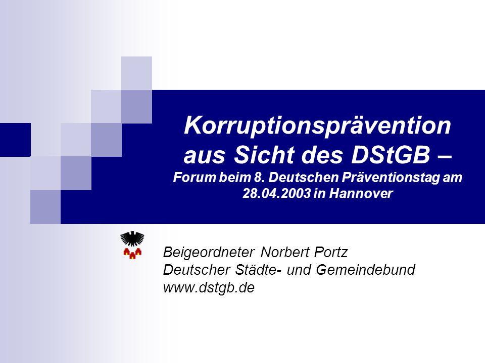 Korruptionsprävention aus Sicht des DStGB – Forum beim 8