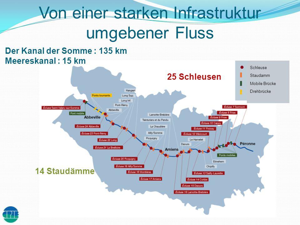 Von einer starken Infrastruktur umgebener Fluss