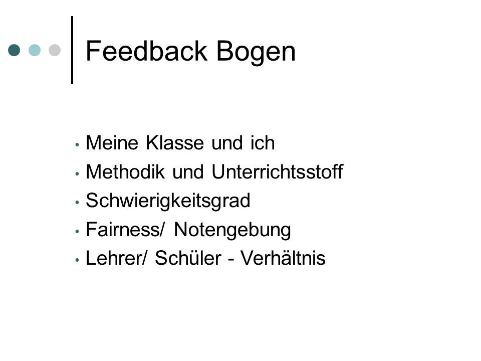 Feedback Bogen Meine Klasse und ich Methodik und Unterrichtsstoff