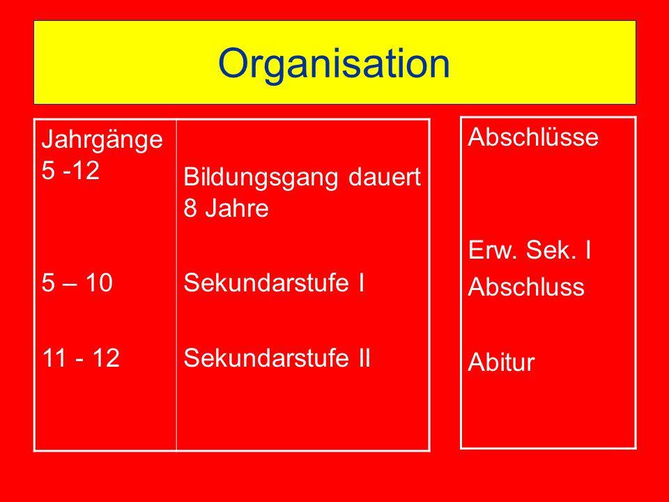 Organisation Jahrgänge 5 -12 5 – 10 11 - 12