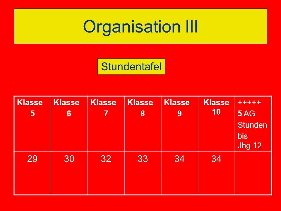 Organisation III Stundentafel 29 30 32 33 34 Klasse 5 6 7 8 9