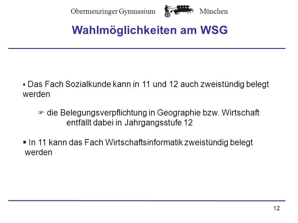 Wahlmöglichkeiten am WSG