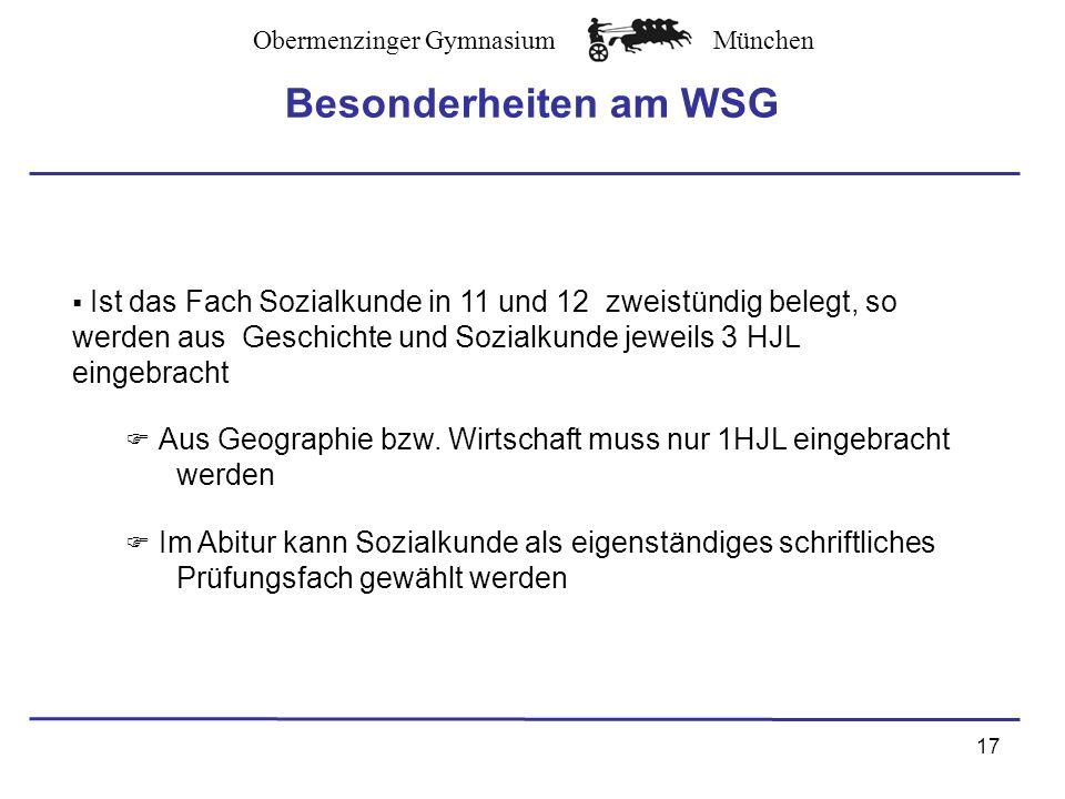 Besonderheiten am WSG