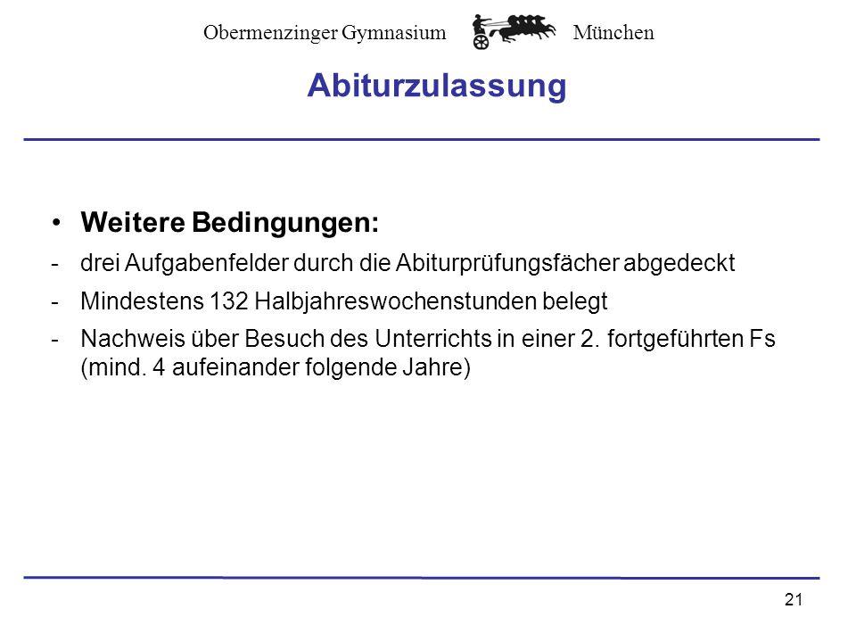 Abiturzulassung Weitere Bedingungen: