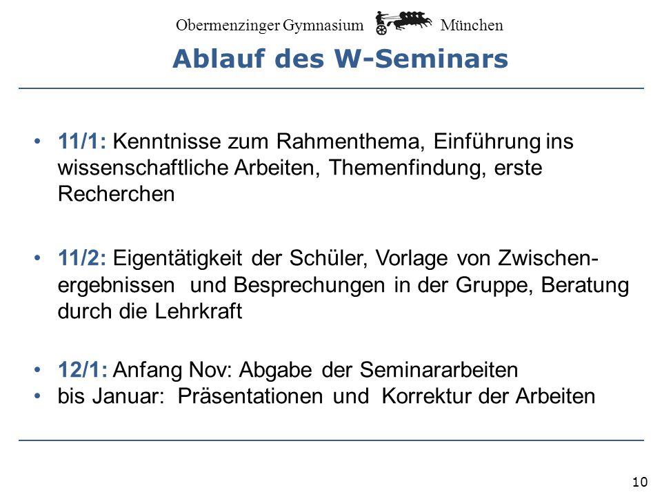 Ablauf des W-Seminars 11/1: Kenntnisse zum Rahmenthema, Einführung ins wissenschaftliche Arbeiten, Themenfindung, erste Recherchen.